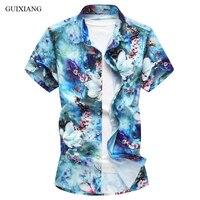 New summer style men boutique plus colors short sleeve shirt high quality slim flowers men's short sleeve shirt plus size M 7XL