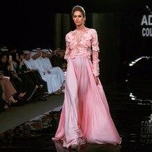 Robe de soiree A Linie O Neck Long Sleeves Rosa blume Appliques Sheer Runway Haute Couture Frauen Lange Elie Abend kleider