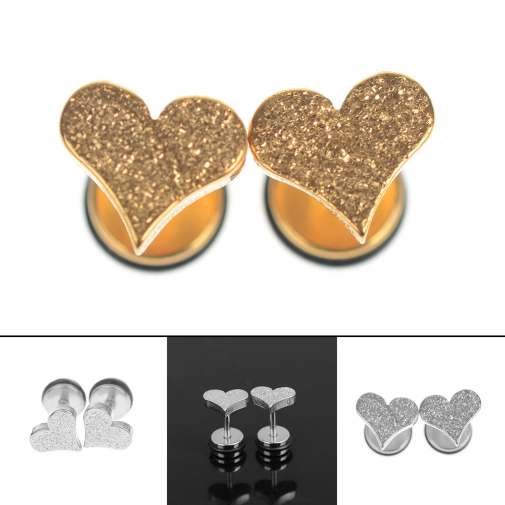 1pair Punk Gothic Heart Shaped Stud Earrings For Women Stainless Steel  Tragus Grind Arenaceous Ear Studs