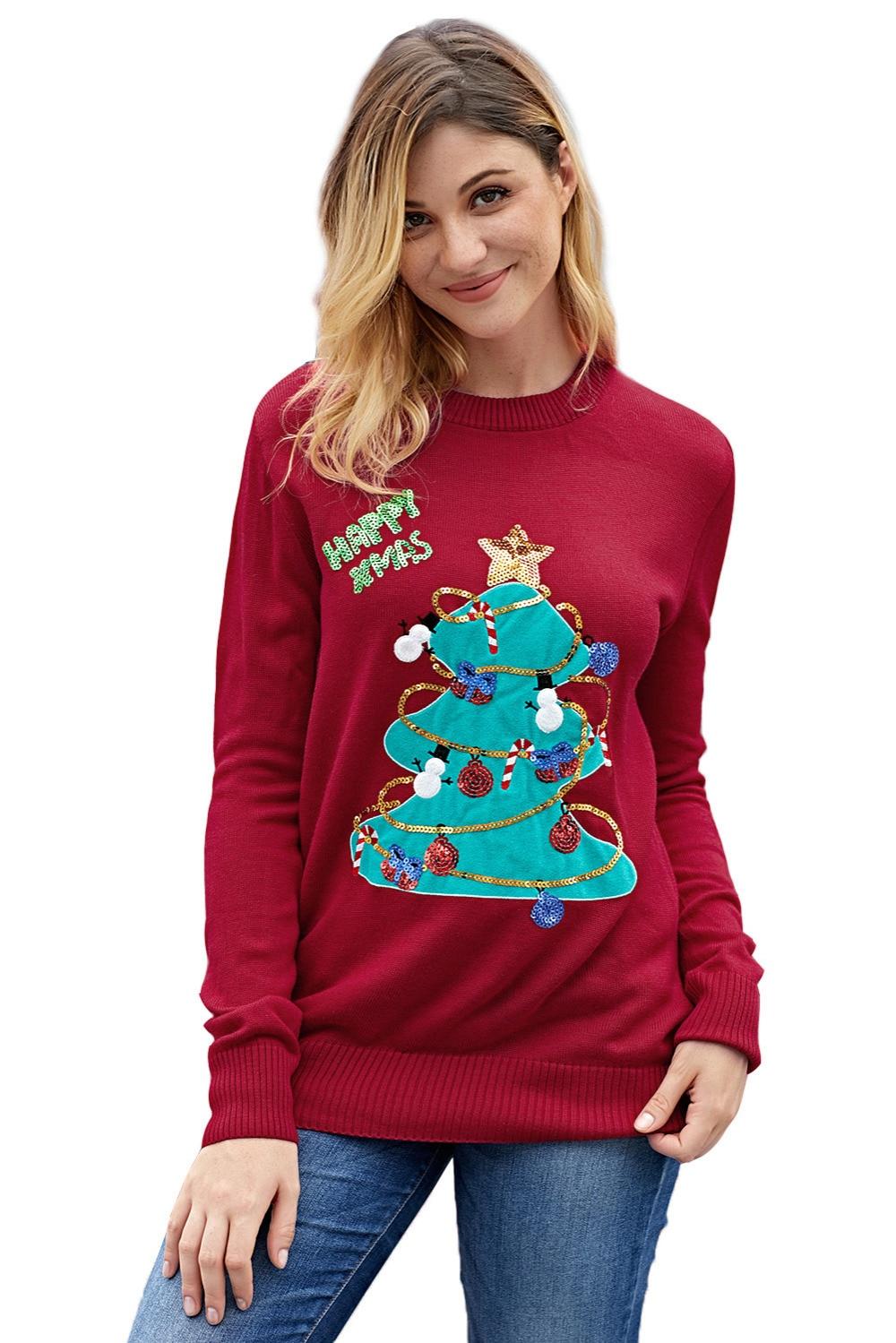 Suéteres Navidad Mujer Las Alta black De Otoño Ropa Árbol Tops Feliz Jersey  rojo Punto Negro ... 67fa451f8419