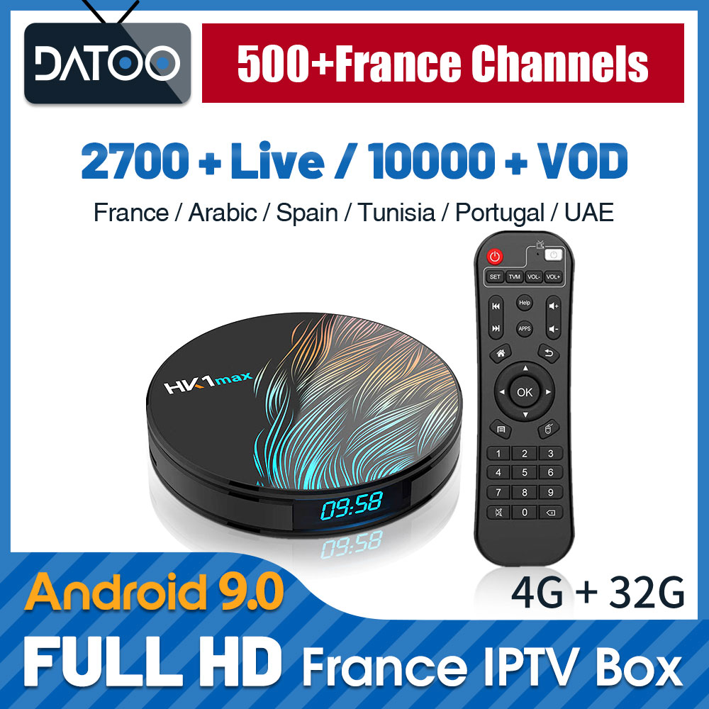 IP TV France arabe italie Portugal turquie DATOO HK1 MAX 4G + 32G Android 9.0 BT WIFI double bande France IPTV français espagne Portugal
