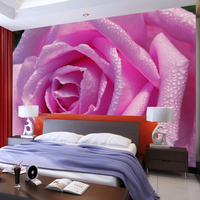 HD Water Drop Pink Rose Photo Wallpaper 3D Wall Mural Romantic Decor Wedding House Living Room