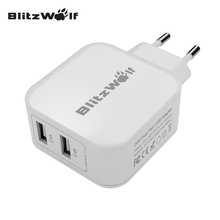 BlitzWolf Universal Travel Wall Charger Dual USB Charger Mobile Phone Charger Adapter 2.4A EU Fast Charge For iPhone For Samsung