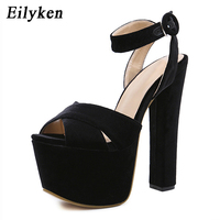 Eilyken Sandalias mujer 2019 New Flock Buckle Strap Woman Sandals Party String Square heel Shoes Summer Woman Shoes Black