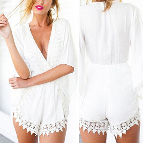 2016 New Product New Design Womens Sexy Summer Ethnic Dolman V-neck Mini Playsuit Shorts Beach Jumpsuit