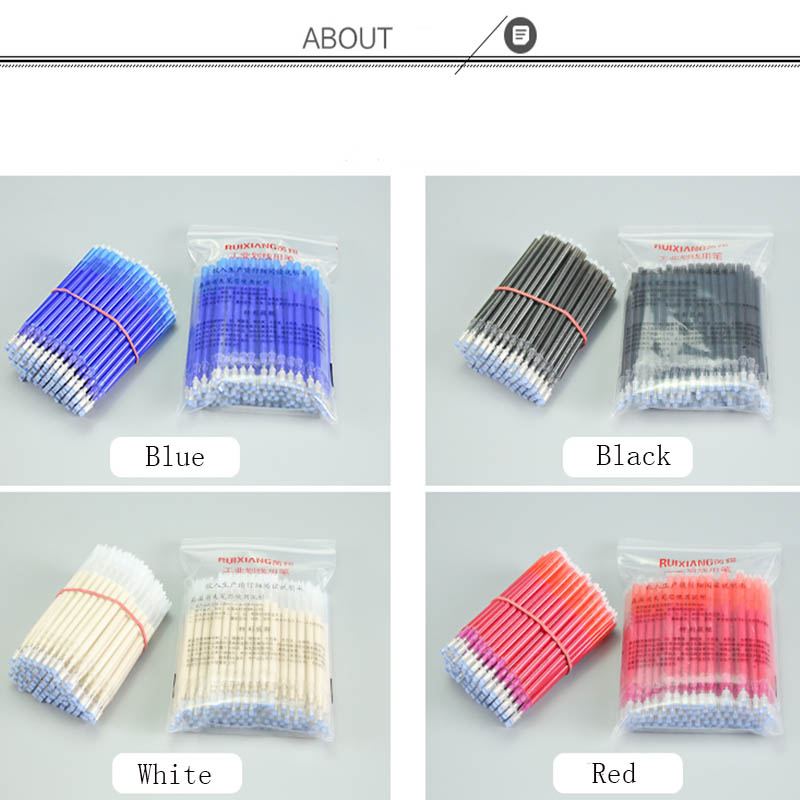 Image 5 - 100pcs High Temperature Vanishing Refill Fabric+PU Cloth Factory Professional Ironing Heating Disappear Refill Office Stationery-in Gel Pens from Office & School Supplies