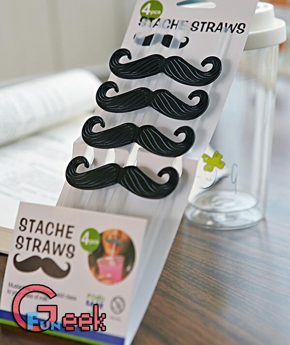Packs creativo barba nera potabile cannucce di plastica baffi
