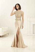 Meerjungfrau Lange Perlen Kristall Mutter der Braut Kleider Plus größe Höhe Aufgeschlitzte Satin Abendkleid Braut Kleid Mutter M25