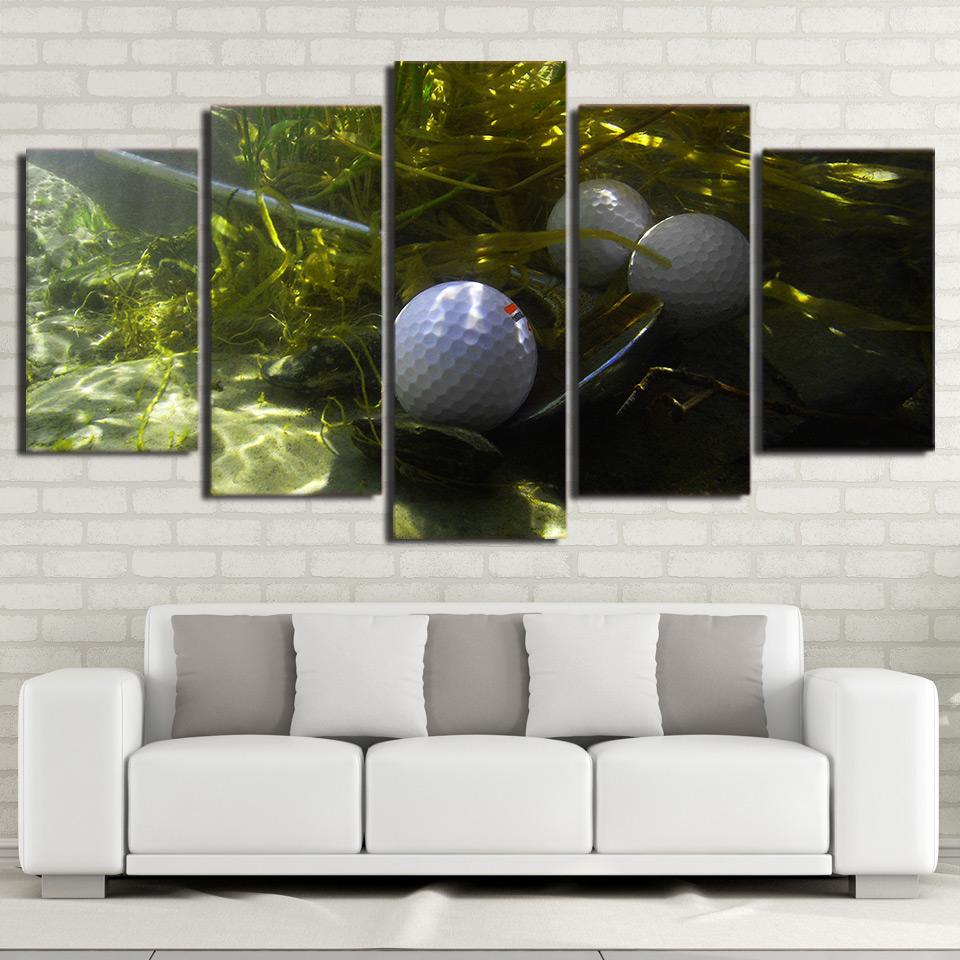 Leinwand Wandkunst Bilder Wohnzimmer Wohnkultur Rahmen 5 Stck Golf Malerei HD Gedruckt Grne Gras Unterwasser