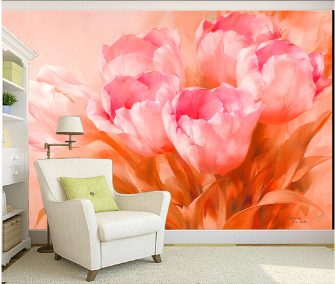 Custom 3 d flower wall murals wallpaper, tulip canvas for the sitting room the bedroom TV wall waterproof vinyl papel DE parede custom photo wallpaper and the horse mural for children room bedroom tv wall waterproof textile cloth papel de parede