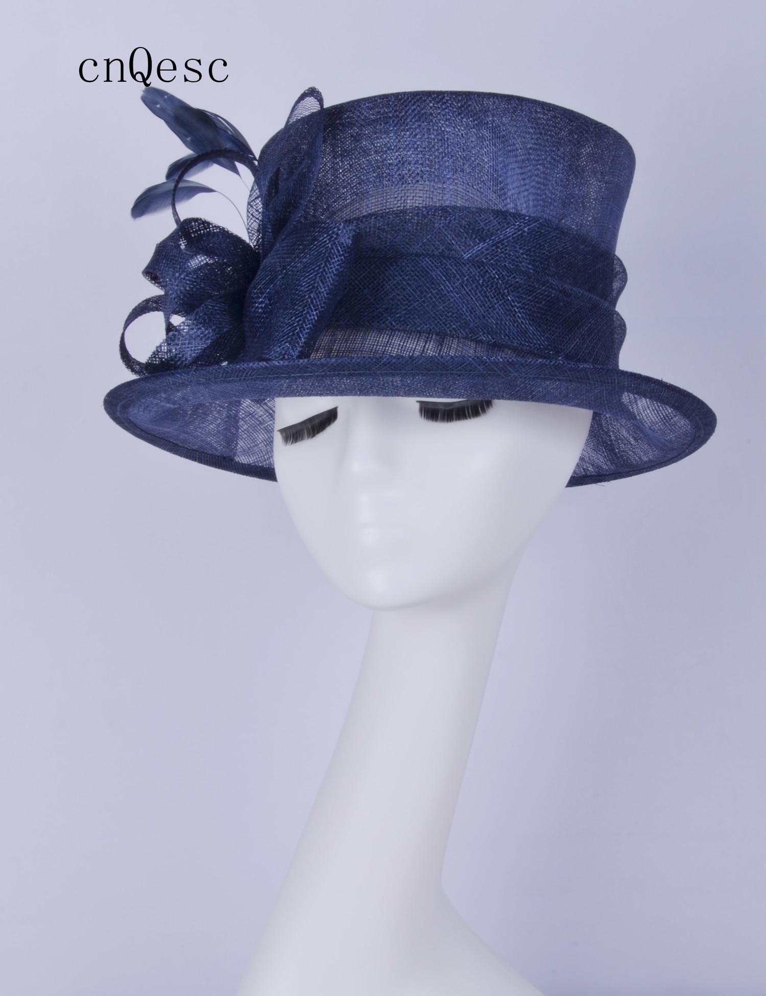 2019 bleu marine Sinamay fascinator robe chapeau Kentucky Derby courses de mariage douche de mariée mère de la mariée w/plumes.