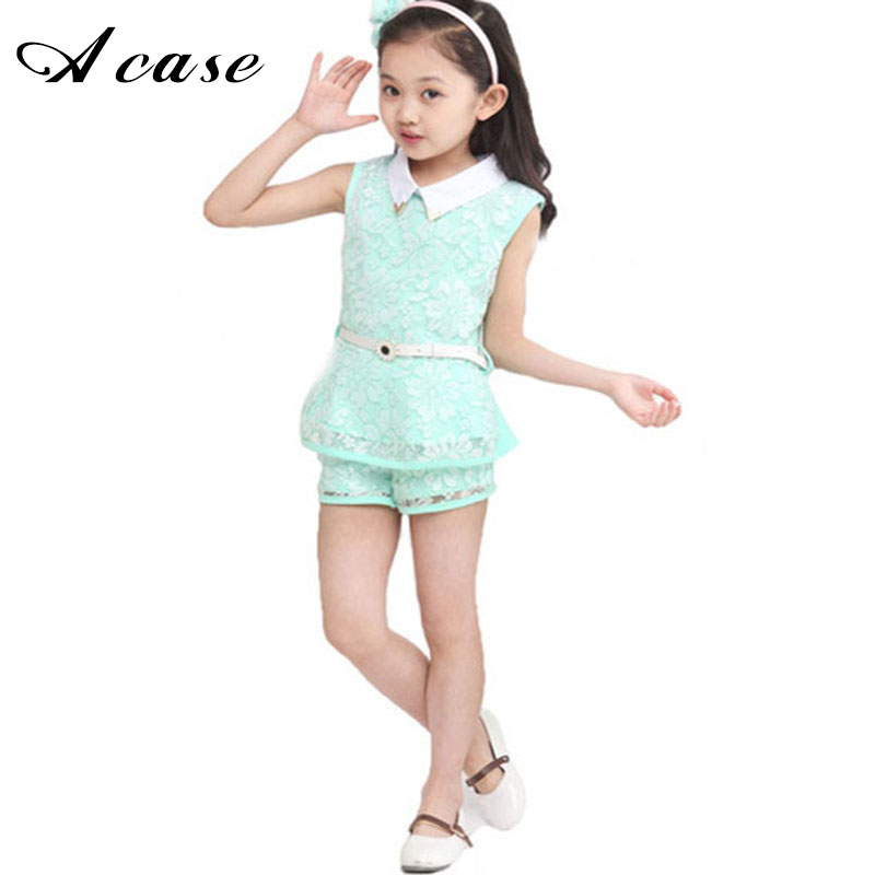 2018 Summer Children's Clothing Girls Lace Flower Korean Fashion Formal Suit Kids Teens Girl Shirts Collar Tops Shorts Outfits