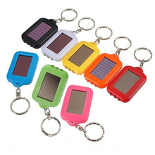 Useful 10X Mini Solar Power Rechargeable 3LED Flashlight Keychain – red