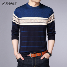 E-BAIHUI O-Neck Pullover Men Brand Clothing 2019 Autumn Winter New Arrival Cashmere Wool Sweater Casual Striped Pull 213