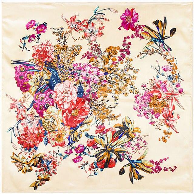90x90 boho Flower pattern print silk satin scarves  for women Russian shawl Arab hijab head square scarf with Clothing A324