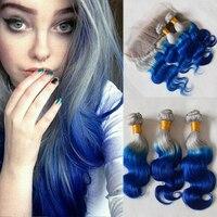 Guanyuhair Ombre серебряный серый синий объемная волна 3 Связки с фронтальной закрытие 13X4 100% натуральные волосы ткань перуанский Волосы remy
