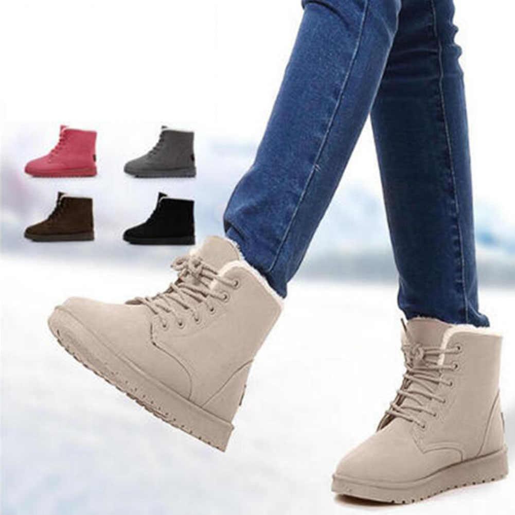 KARINLUNA 2019 Yeni Kar Botları Düz Düz bağcıklı ayakkabı Ile Kadın Kış yarım çizmeler Siyah Sıcak Kürk Peluş Ayakkabı Büyük Boyutu 35 -43