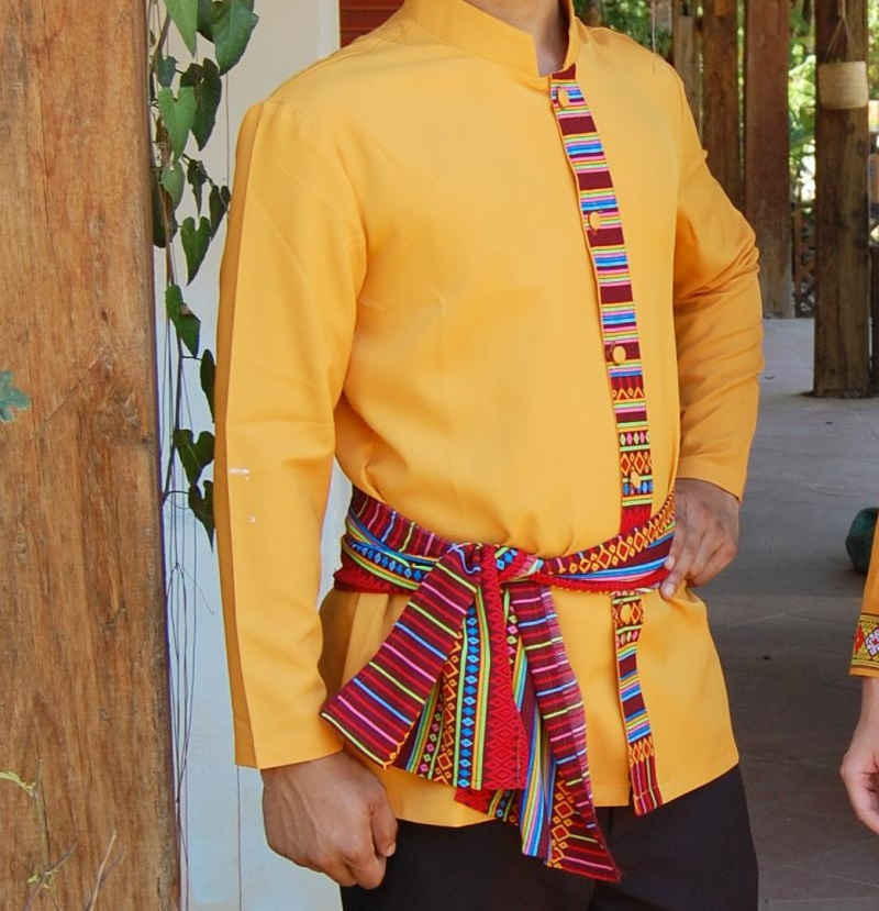 South East Asia Thailand Laos YunNan Hotel uniform Orange yellow long sleeve Top skirt collocation suits men women Special wear 38