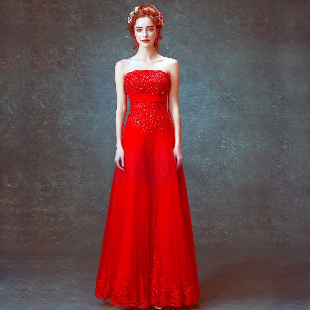 2016 elegant red lace prom dress long strapless shoulder backless dresses bandage plus size,7138.ty.hd - zkc uncle Store store