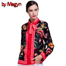 2017 Winter Spring Women Shirts Long Sleeve Female Casual Loose Blouses Floral Snake Print With Necktie Plus Size XXXL G529