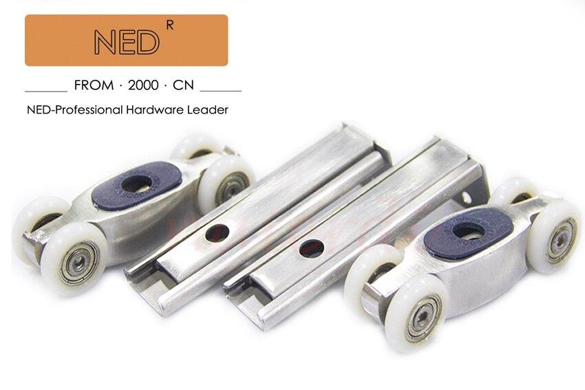 NED 304 stainless steel 4 wheels Sliding Door Sliding door roller set Hanging door rollers wood door hanging wheel