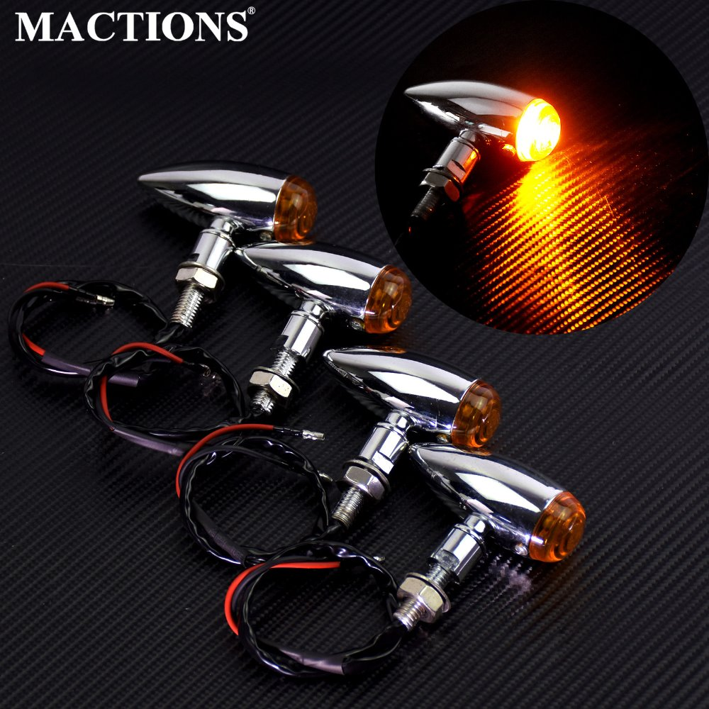 2PCS/4PCS Chrome Metal EM Bullet Turn Signal Indicator Light Lamp For Harley Mini Sportster Bobber Chopper