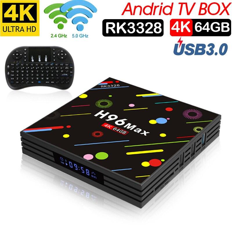 Xinwaysh96 max rk3328 tv box android tv box smrat tv box chipset 4 gb ram 64 gb rom D'origine Android 7.1 2.4/5G Wifi H.265 ensemble boîte