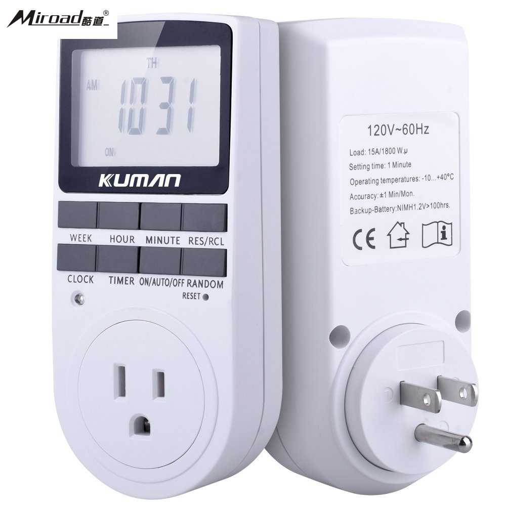 Miroad 15A/1800W 24-Hour Digital Timer Socket, 7-Day Digital Programmable timer Switch with 3-prong Outlet for <font><b>Lights</b></font> W45
