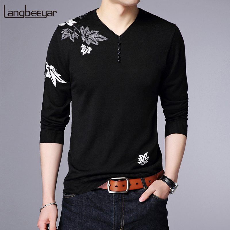 2019 New Fashion Brand Sweater Men Pullover V Neck Slim Fit Jumpers Knitwear Christmas Winter Korean Style Casual Mens Clothes
