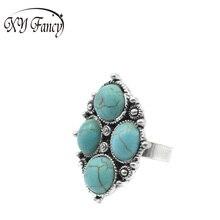 XY Fancy 2017 Vintage Style Fashion Elliptical Shape Circular Four Blue Stone Ring Striking Tibetan Silver Big Ring zk15