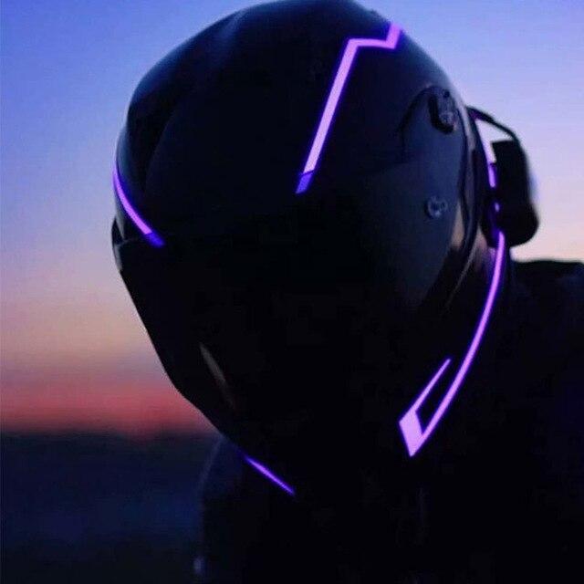 Neue Motorrad Helm EL Kalt Licht LED DIY Nichts Nacht Reiten Reflektierende Streifen Änderung Kreuz Land Sicherheit Aufkleber