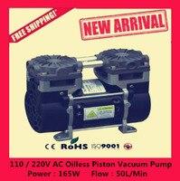 Бесплатная доставка модель HZW 165 110/220 В silent безмасляный поршневой вакуумный насос 165 Вт, вакуумный поток 50L/мин