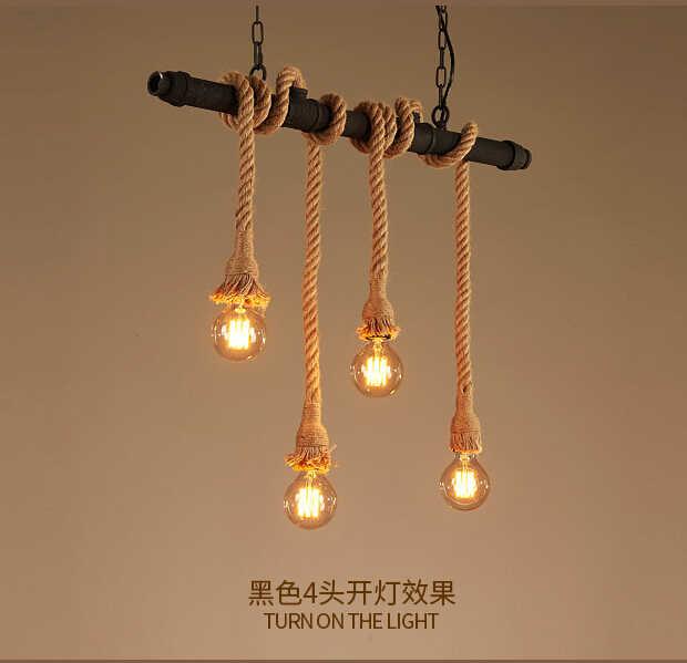 Стилизация под водопроводную трубу Ретро лампа винтажный подвесной светильник пеньковая веревка Лофт промышленное освещение Бар Кафе светильники