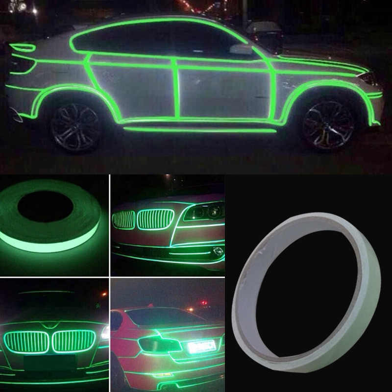 1 Roll Auto Roll Heldere Groene Reflecterende Sticker Motorfiets Auto Lichtgevende Tape Reflecterende Strip Decal PVC