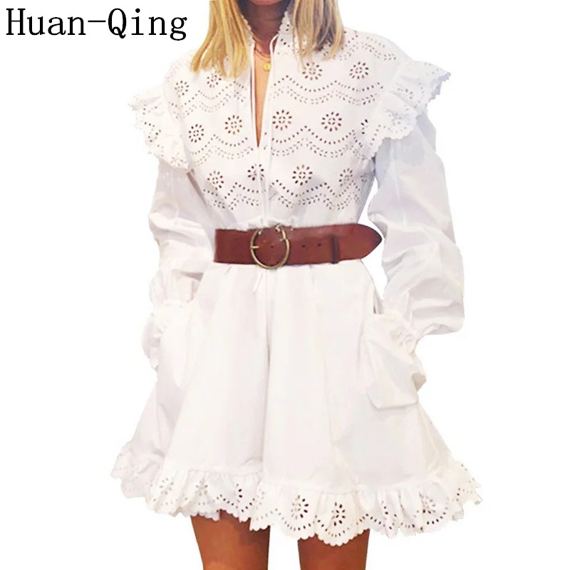 2019 Spring Runway Women White Dress Sweet Sexy Hollow Out Lace up Long Sleeve Ruffles Elegant