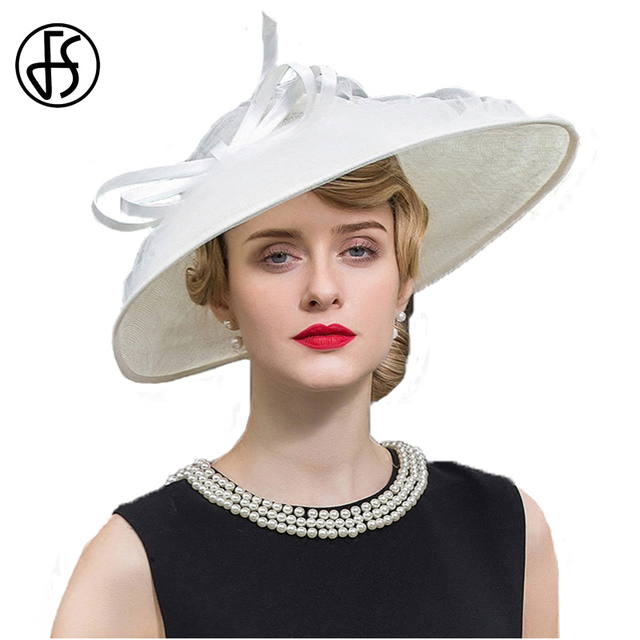 474a52b1 FS Vintage Wedding Hats For Women White Kentucky Derby Large Wide Brim  Bowknot Linen Fedoras Ladies Church Hat Chapeu Feminino