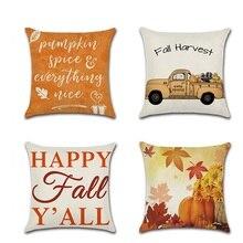 Halloween Pumpkin Car Printed Cushion Cover Happy Fall Square Pillow Case Sofa Waist Throw Cushion Cover Thanksgiving Decor цены