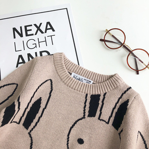 Image 4 - Ins Fashion Baby Girls Sweaters Boy Cartoon Rabbit Sweater Autumn Winter Kids Pullover Tops Cotton Knitwear For Girls Clothing
