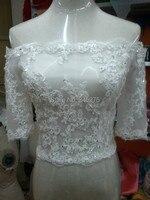 Bridal bolero jacket phụ nữ noiva wedding phụ kiện hình ảnh Thực Tế ngà tắt vai ngắn tay áo đính cườm ren cộng với kích thước