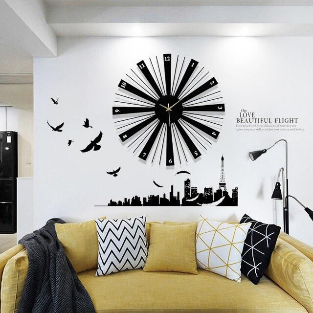Lange Muur Decoreren.Lange Tijd Horloge De Grote Woonkamer Muur Decoratie Creatieve Mode