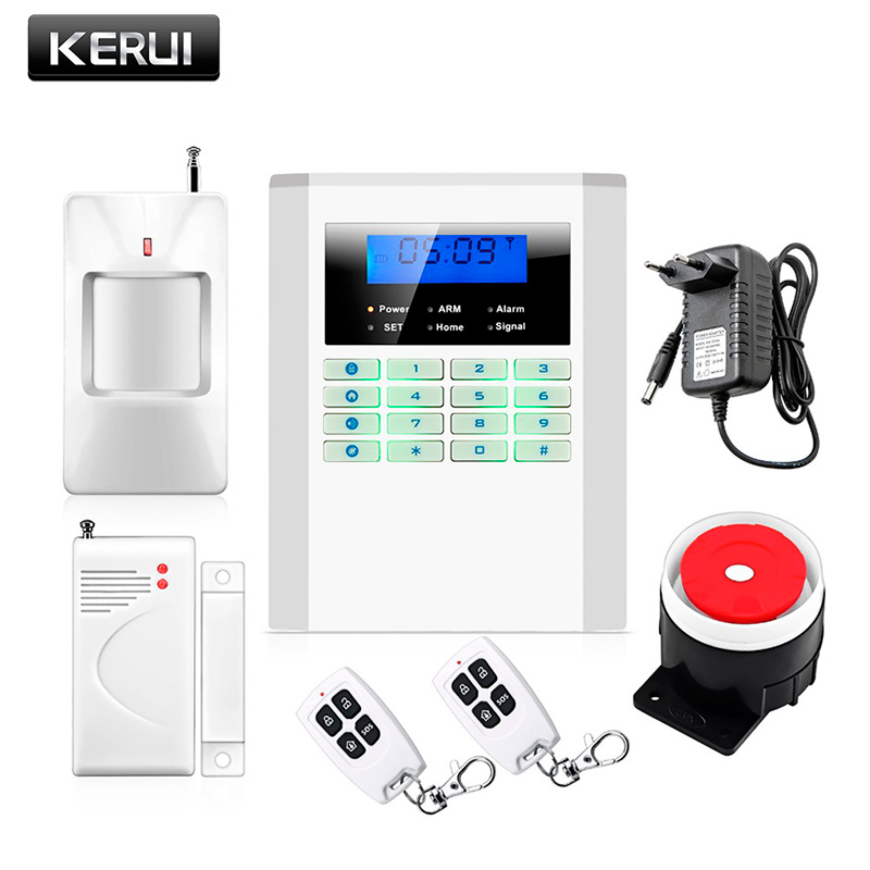 KERUI New 900/1800/1900MHz Wireless GSM PSTN burglar security alarm system for home house garden store shop office wireless smoke fire detector for wireless for touch keypad panel wifi gsm home security burglar voice alarm system