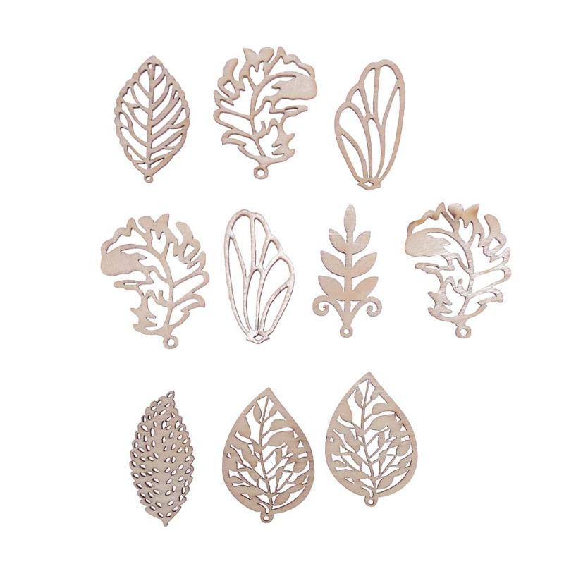 10pcs Wood Chips Mixed Leaves Home Decor DIY Handmade Accessories Scrapbooking Decor Home Shop Hanging Tags Christmas Ornaments