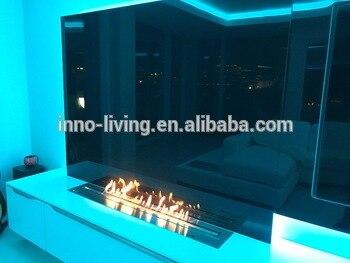 24 Inch Intelligent Silver Automatic Remote Control Smart Bio Ethanol Metal Box Fireplace