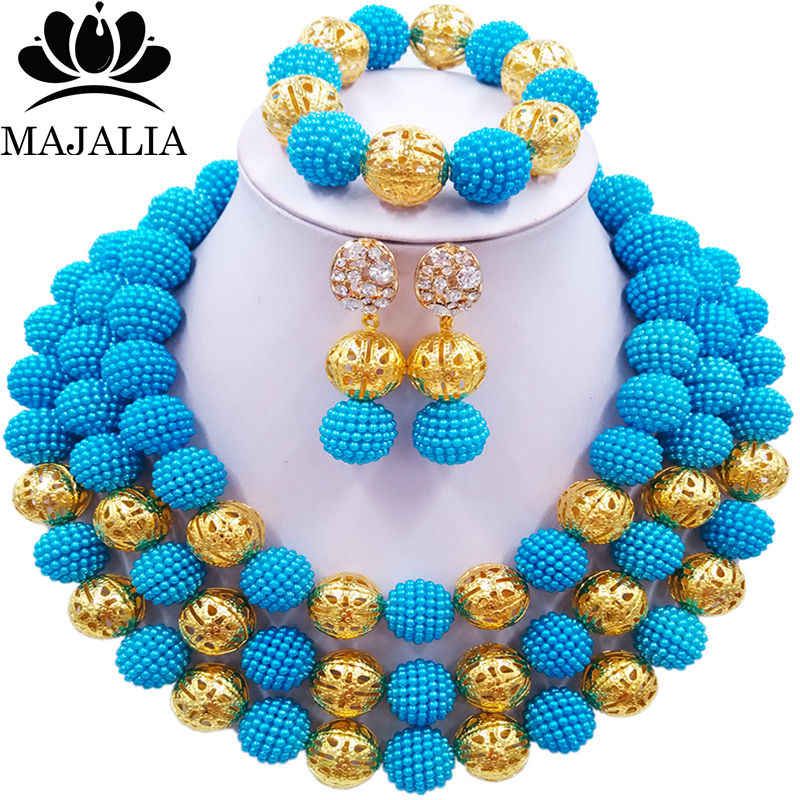 Majalia Fashion Nigeria Wedding African Beads Jewelry Set Blue Crystal Necklace Bridal Jewelry Sets Free shipping 3BU014