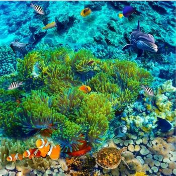 wellyu Custom large-scale mural pvc underwater world tropical fish 3D floor tiles waterproof thick stickers