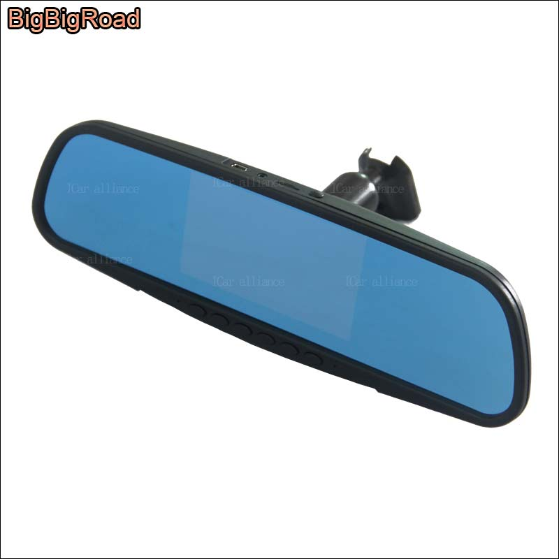 BigBigRoad For nissan tiida Car Blue Screen front mirror DVR + rear view camera driving video recorder dashcam parking monitor the book of memory