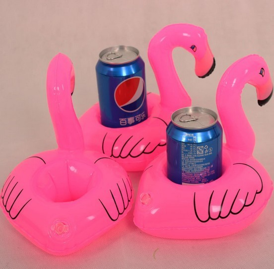 1PCS Hot Selling Mini Pink Flamingo Inflatable Drink Holders Floating Toy Pool Can Party Bath xd