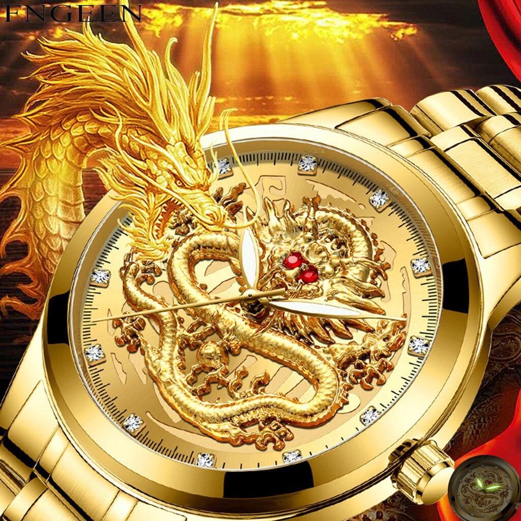 watch men luxury FNGEEN Embossed Diamond Dragon Face Watch Men's Waterproof Quartz Watch man watch 2019
