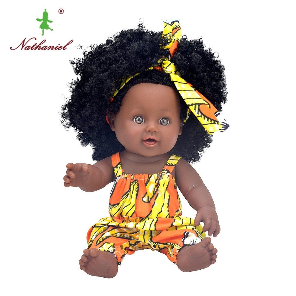 African black baby doll reborn girl 12inch yellow boneca corpo inteiro de silicone reborn baby dolls born lifelike  children  1