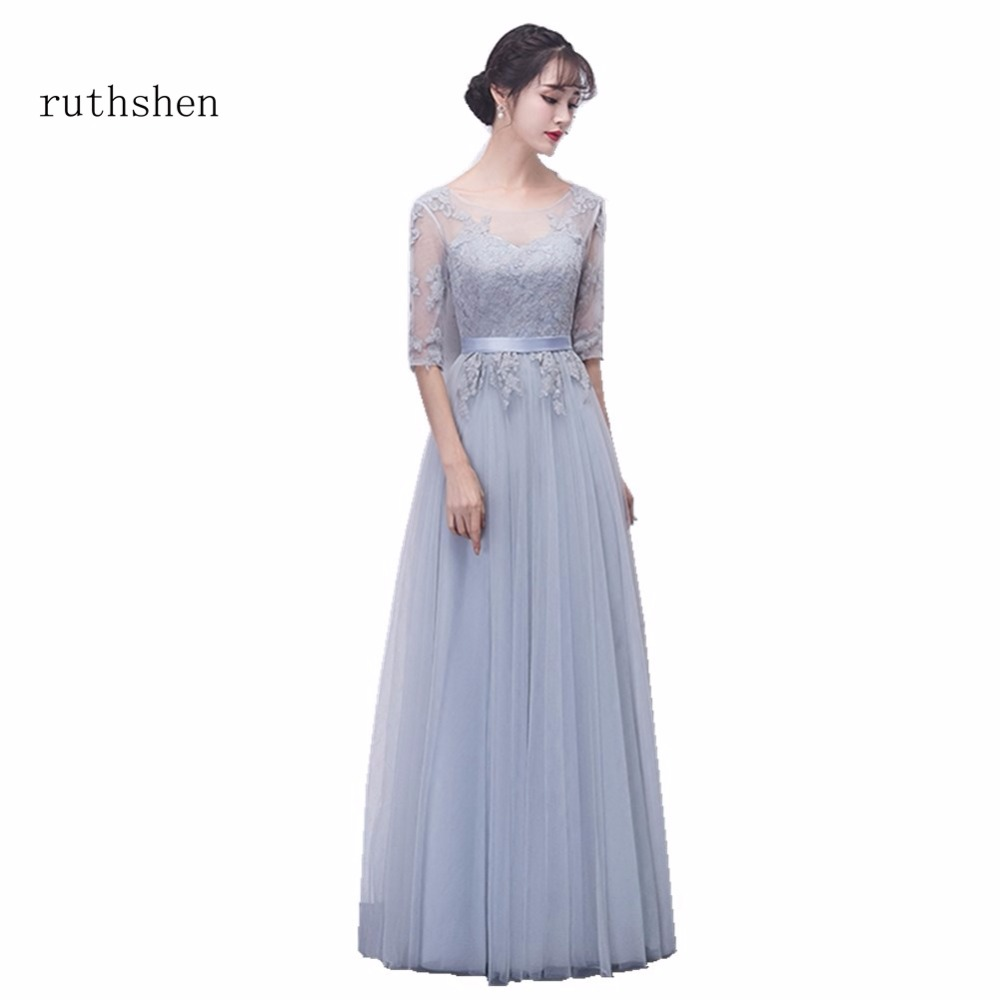 ruthshen Hot Fashion Vestido Dama De Honra With Appliques Half Sleeves Tulle Long A Line   Bridesmaid     Dresses   Cheap 2018